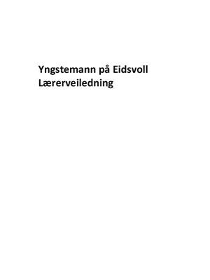 Yngstemann på Eidsvoll. Lærerveiledning